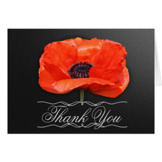 Poppy Flowers Orange Black Thank You Note Card