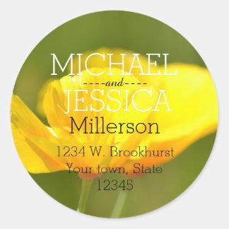 Poppy Flowers Personalized address Classic Round Sticker