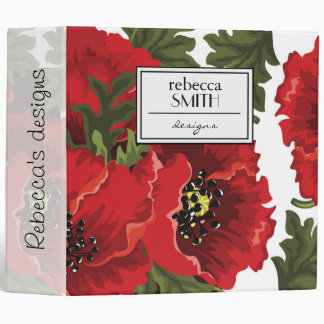 Poppy Flowers, Petals, Leaves - Red Green Black 3 Ring Binder