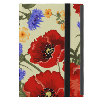 Poppy Flowers, Petals, Leaves - Red Green Blue Cover For iPad Mini