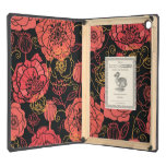 Poppy flowers red on black pattern cover for iPad air