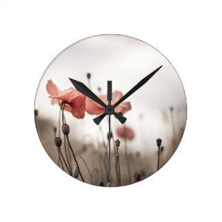 Poppy Flowers Round Clock
