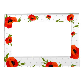 Poppy Flowers with Polka Dots Background Magnetic Picture Frame