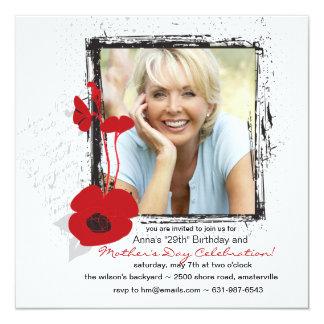 Poppy Frame Photo Mother's Day/Birthday Invitation