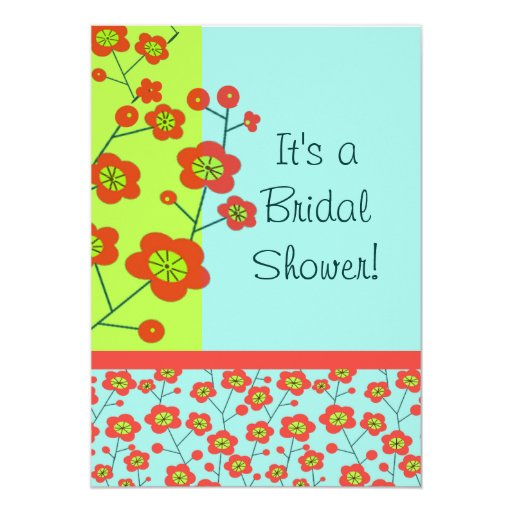 Poppy Fun Trendy Mod Floral 5x7 Paper Invitation Card