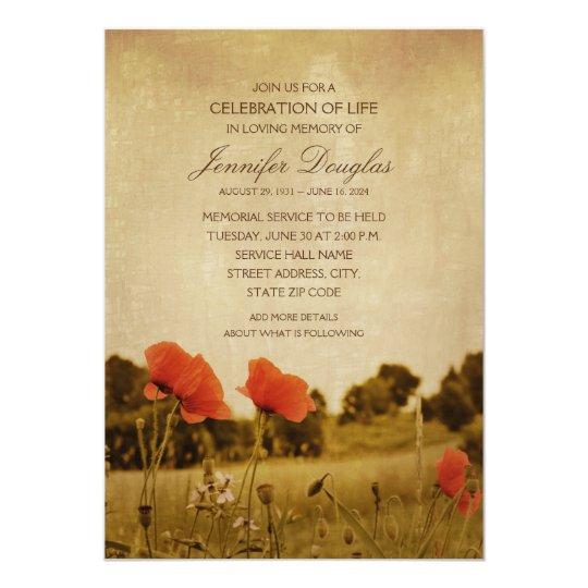 Poppy Funeral Announcements Memorial Cards Zazzle Com