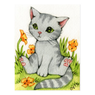 Poppy Garden - Cute Cat Art Postcard