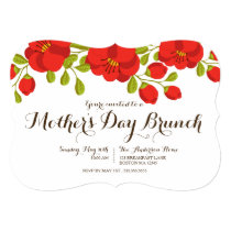 Poppy Garden Floral Mother's Day Brunch Invitation