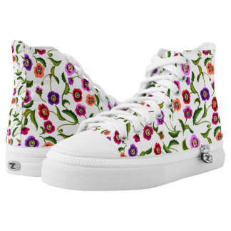 Poppy Garden Flowers High Top Sneakers Printed Shoes
