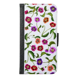 Poppy Garden Flowers Samsung Galaxy s6 Wallet Case