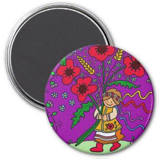 Poppy Girl 3 Inch Round Magnet