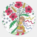 Poppy Girl Ukrainian Folk Art Round Stickers