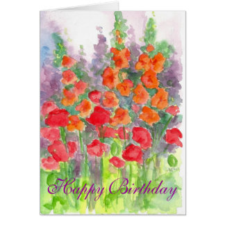 Poppy Gladiola Flower Watercolor Happy Birthday Greeting Cards