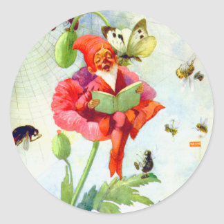 Poppy Gnome Classic Round Sticker