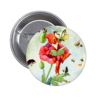 Poppy Gnome Pinback Button