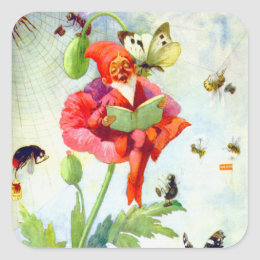 Poppy Gnome Square Sticker