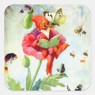 Poppy Gnome Square Sticker