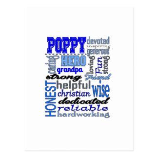 Poppy Grandpa Fathers Day Papa Pawpaw Postcard