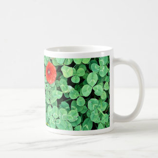 Poppy head amongst clover mug
