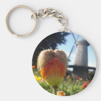 Poppy Heart Basic Round Button Keychain