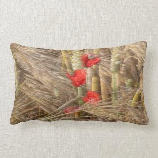 Poppy in the corn field lumbar pillow