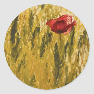 Poppy in the Wheat Field Classic Round Sticker