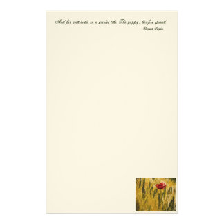 Poppy in the Wheat Field Personalized Stationery