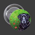 Poppy - Labrador Retriever Dog Art Pinback Button