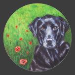 Poppy - Labrador Retriever Dog Art Round Sticker