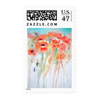 Poppy Meadow art postage stamp
