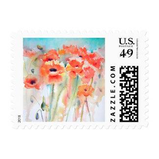 Poppy Meadow art small postage stamp