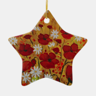 Poppy Meadow, Red Flowers Ceramic Ornament