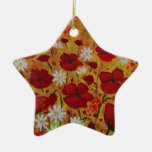 Poppy Meadow, Red Flowers Double-Sided Star Ceramic Christmas Ornament