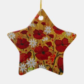 Poppy Meadow, Red Flowers Ceramic Star Decoration