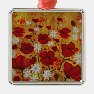 Poppy Meadow, Red Flowers Silver-Colored Square Decoration