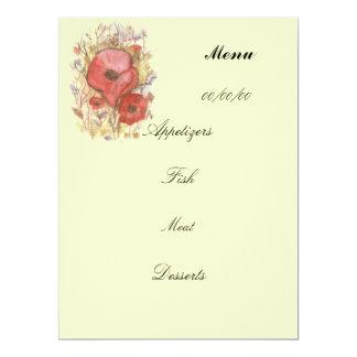 poppy  menu card