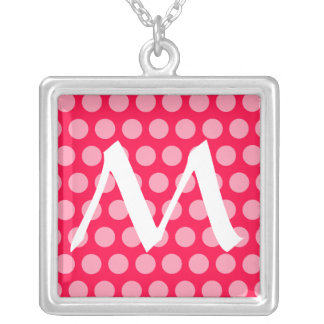Poppy Moroccan Dots with monogram Silver Plated Necklace