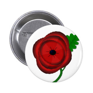 Poppy on white - badge buttons