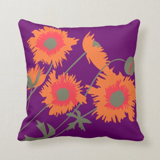 Poppy orange, green and purple throw pillow
