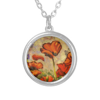 Poppy Painting III Round Pendant Necklace