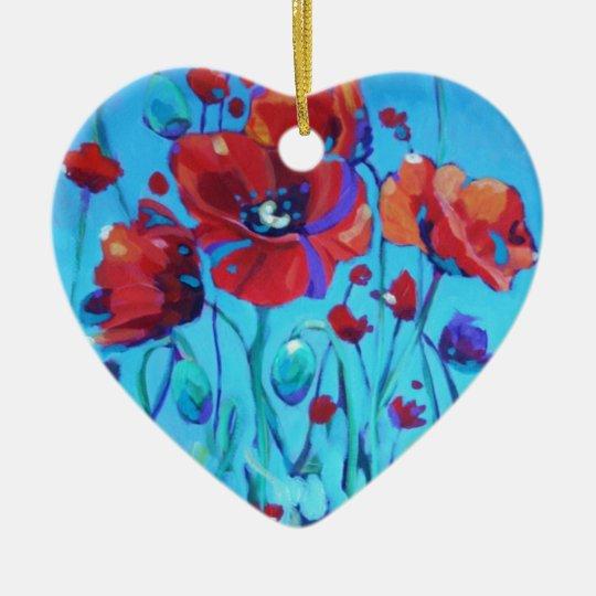 Poppy Painting V Ceramic Ornament