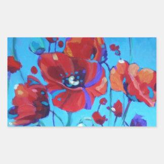 Poppy Painting V Rectangular Sticker