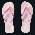 """Poppy Petals Wedding Maid of Honor Flip Flops<br><div class=""""desc"""">These lovely pink poppy petal pattern Maid of Honor wedding flip flops create a soft,  delicate mood for the festive occasion ahead.   All text can be customized for your special event.</div>"""