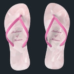 "Poppy Petals Wedding Matron of Honor Flip Flops<br><div class=""desc"">These lovely pink poppy petal pattern Matron of Honor wedding flip flops create a soft,  delicate mood for the festive occasion ahead.   All text can be customized for your special event.</div>"