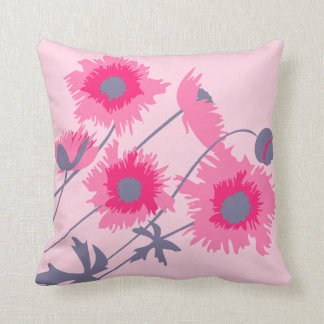 Poppy pink and grey throw pillow