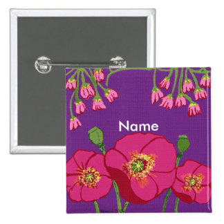 Poppy pink flowers with text button