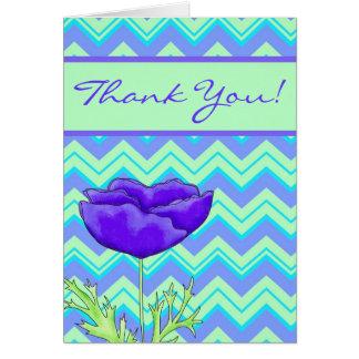 Poppy Purple Green Zizzag Chevron Thank You Greeting Card
