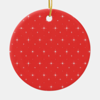Poppy Red And Bright Stars Elegant Pattern Double-Sided Ceramic Round Christmas Ornament