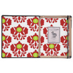 Poppy red and green damask floral girly pattern iPad folio cases