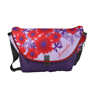 Poppy red and purple floral name bag messenger bag